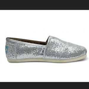 Silver Sparkle Tom Shoes Size 7